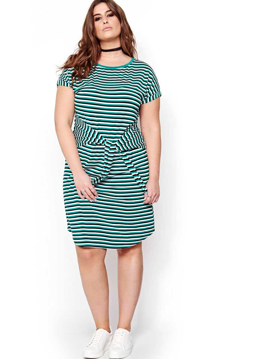 L&L Striped Self Tie T-shirt Dress