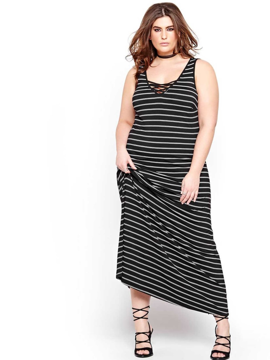 L&LStriped Maxi Dress with Laced neckline