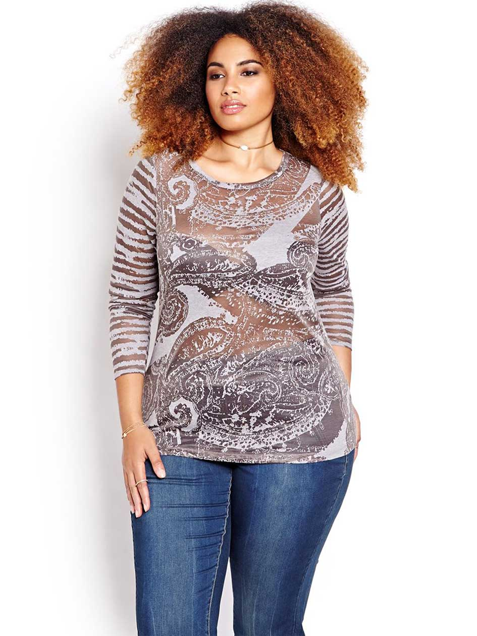 L&L Burnout Fitted Graphic Top