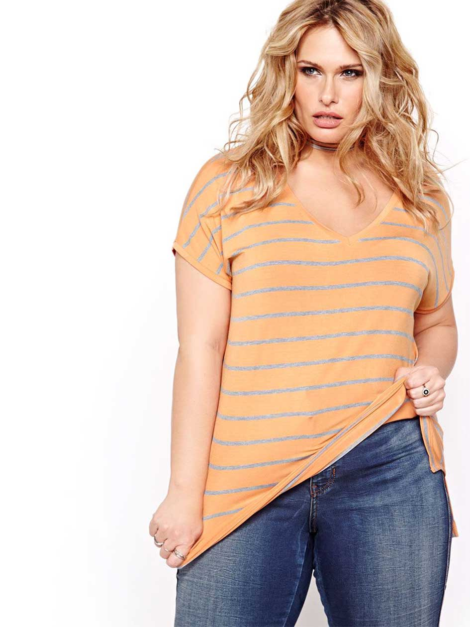 L&L Striped Dolman V-neck Top