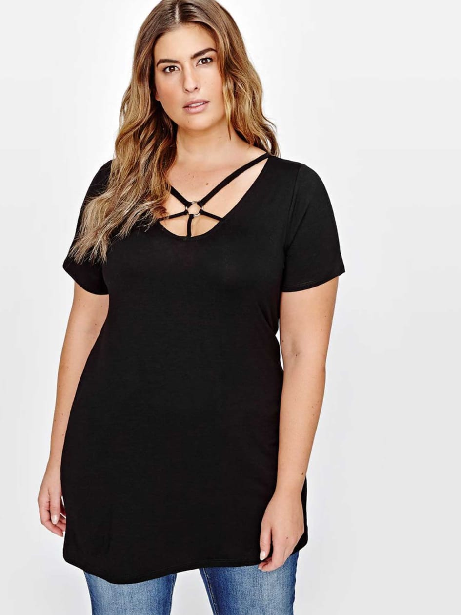 L&L V-Neck Tunic with Cage-Like Bands & Ring Detail