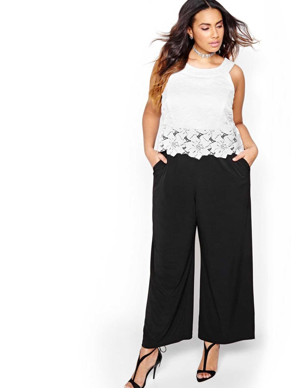 Wide Leg and Lace Topped Jumpsuit