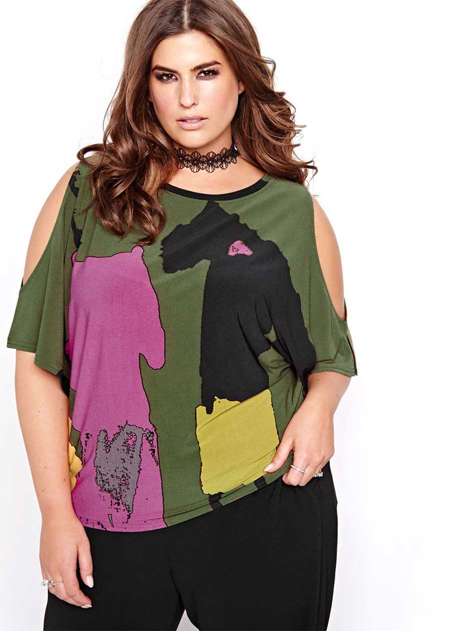 Rachel Roy Cold Shoulder Printed Top