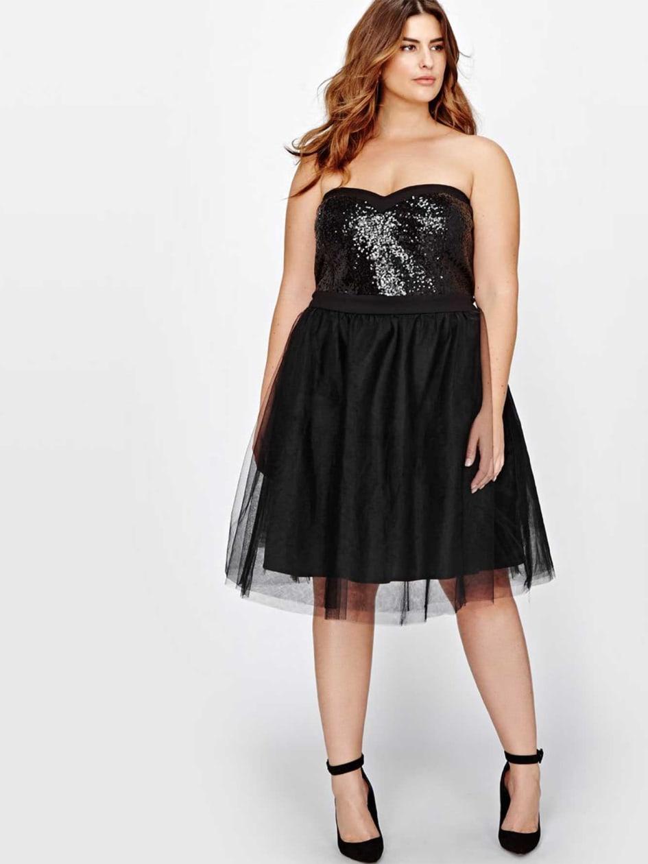 Michel Studio Bustier Sequin Dress With Crinoline Skirt
