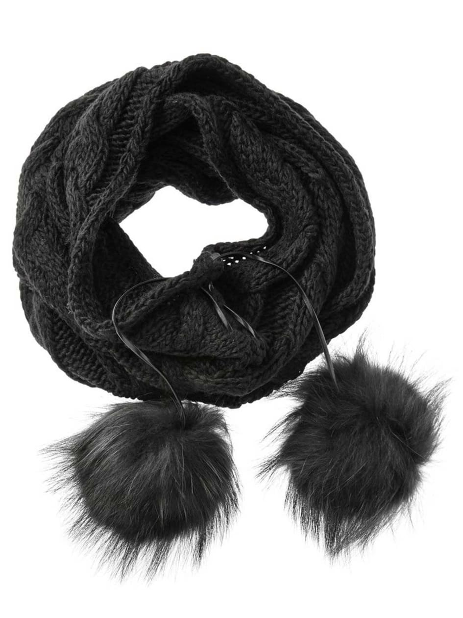 OOKPIK Eternity Scarf with Fur Pompom