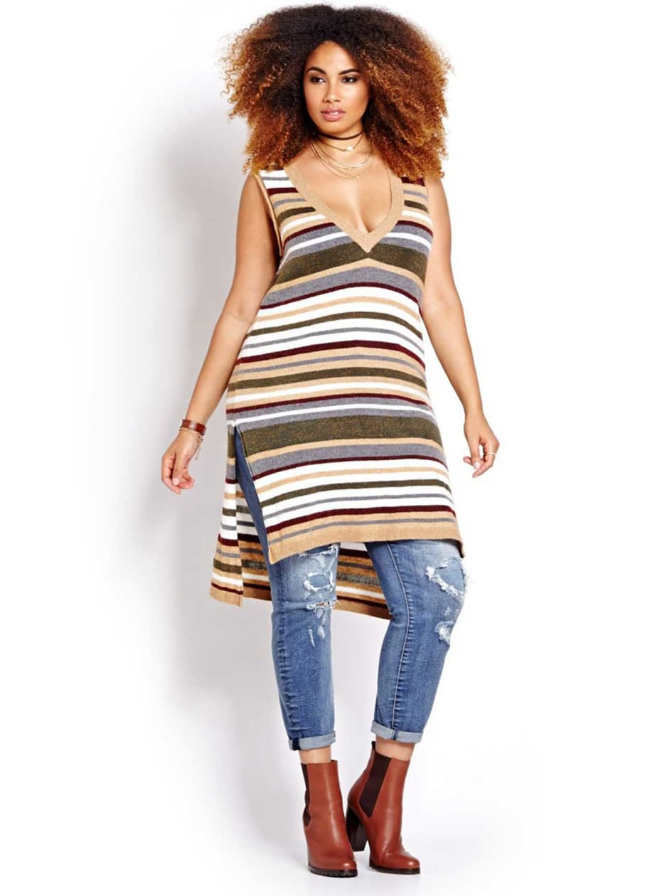 L&L Sleeveless Long V-neck Striped Sweater