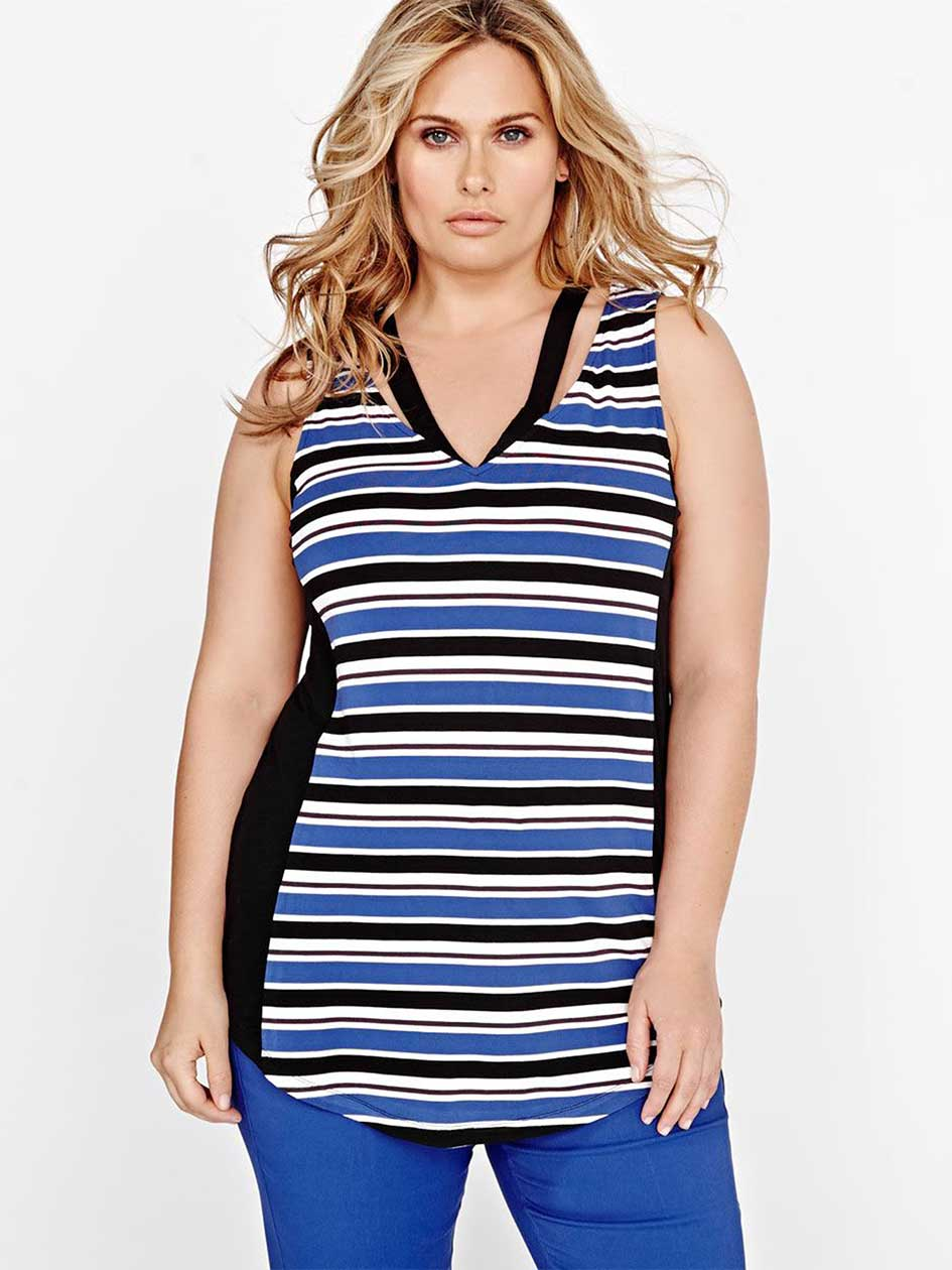 Michel Studio Striped Cami with V Straps
