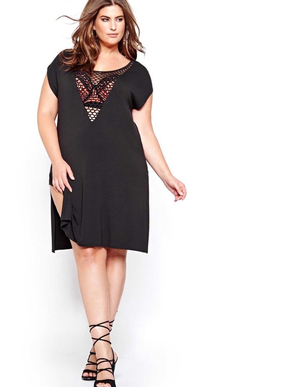 Cactus Deep Net V-neck Cover-Up.black.4X