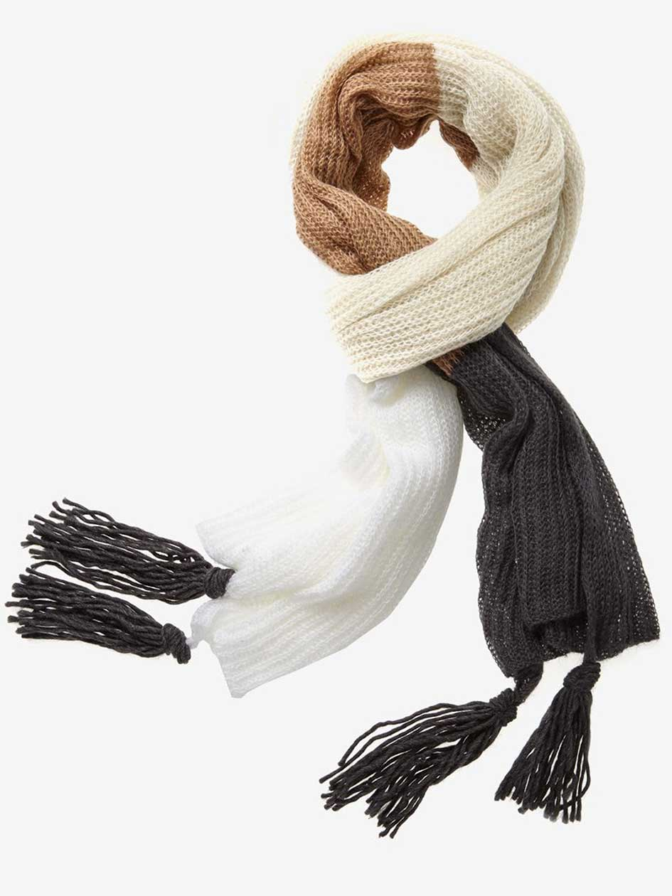 Lightweight Rib Oversize Scarf with Fringes