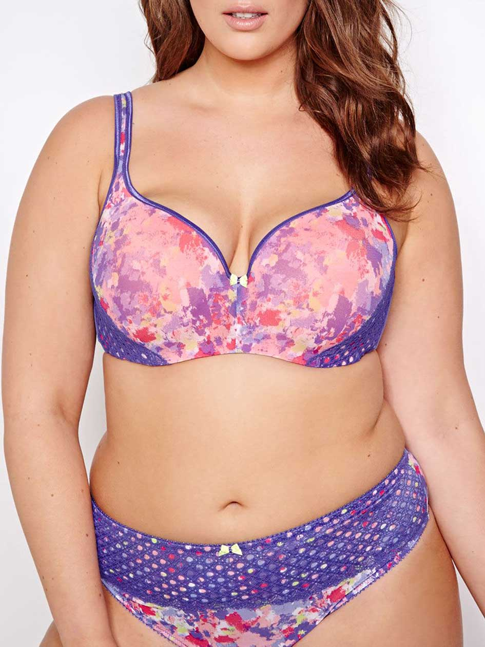 Bright Printed Mesh Contour Flirt Bra - Déesse Collection