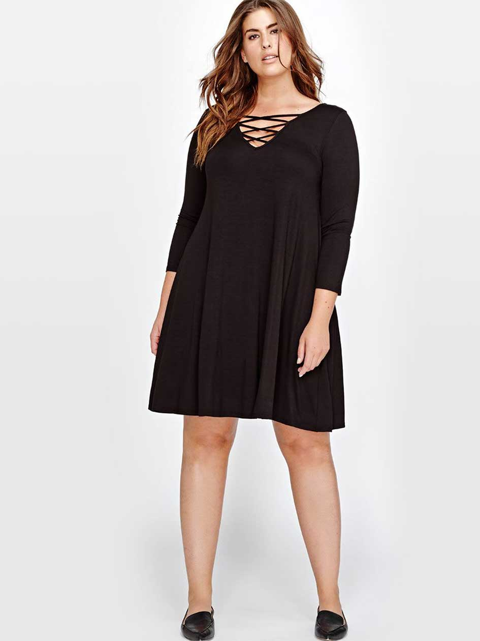 L&L Lace-Up Swing Dress