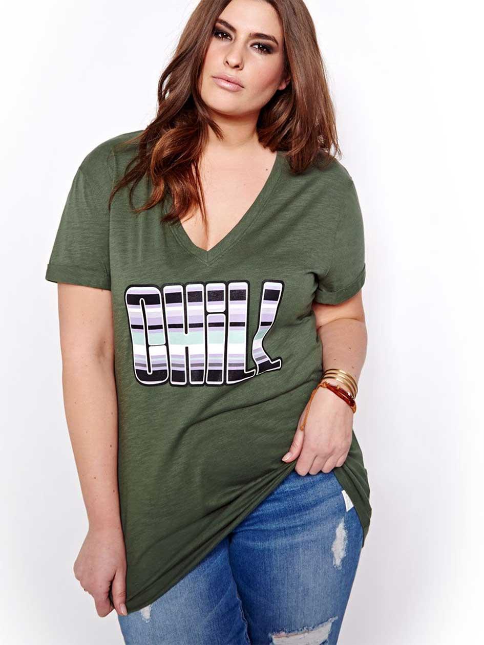 L&L Printed Short-Sleeved Boyfriend T-shirt.Thyme.X