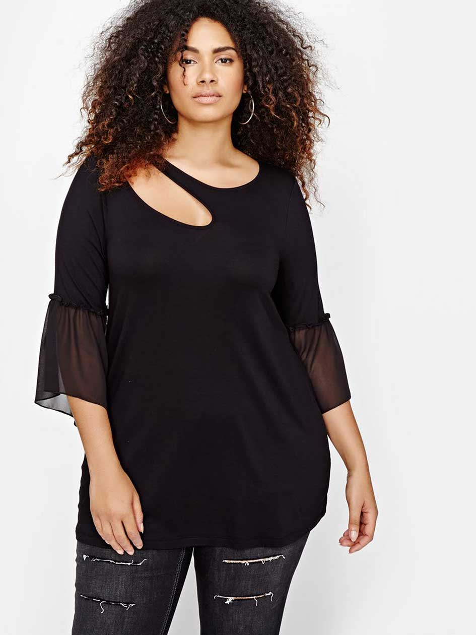 L&L Bell Sleeve Tunic with Asymmetrical Neckline