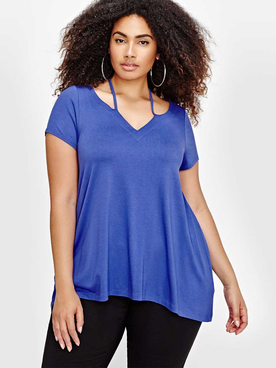 Michel Studio Short Sleeve Swing Top with Straps