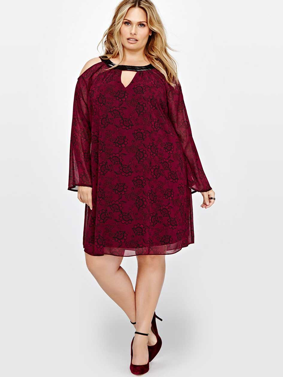 Michel Studio Cold Shoulder Swing Dress