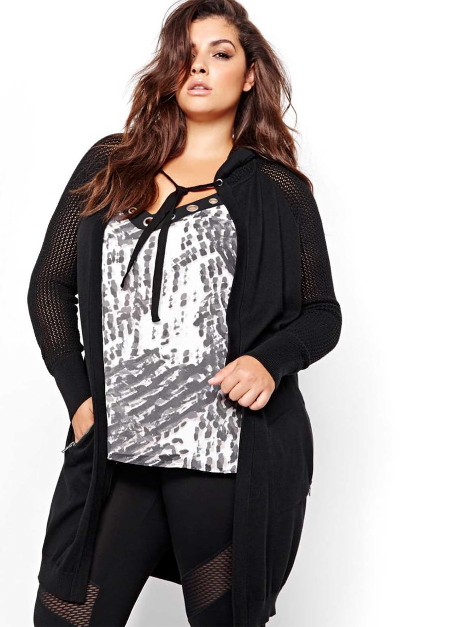 Nadia Aboulhosn Hooded Raglan Cardigan for L&L