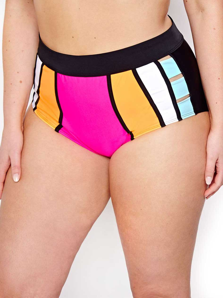 Nola High Waist Color Block Bikini Bottom