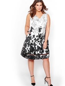 Michel Studio White Fit & Flare Dress with Black Flowers