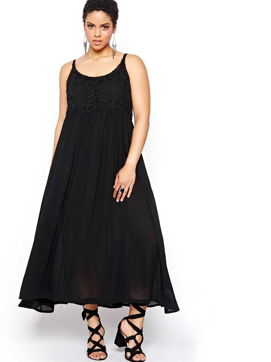 Michel Studio Maxi Dress with Lace Top