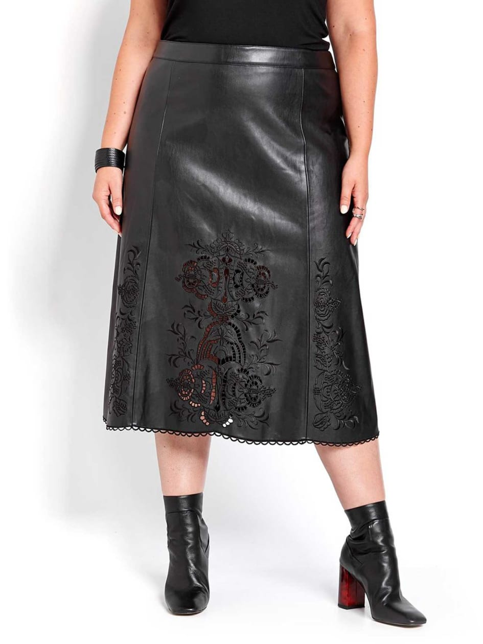 Michel Studio Pleather Skirt with Embroidery