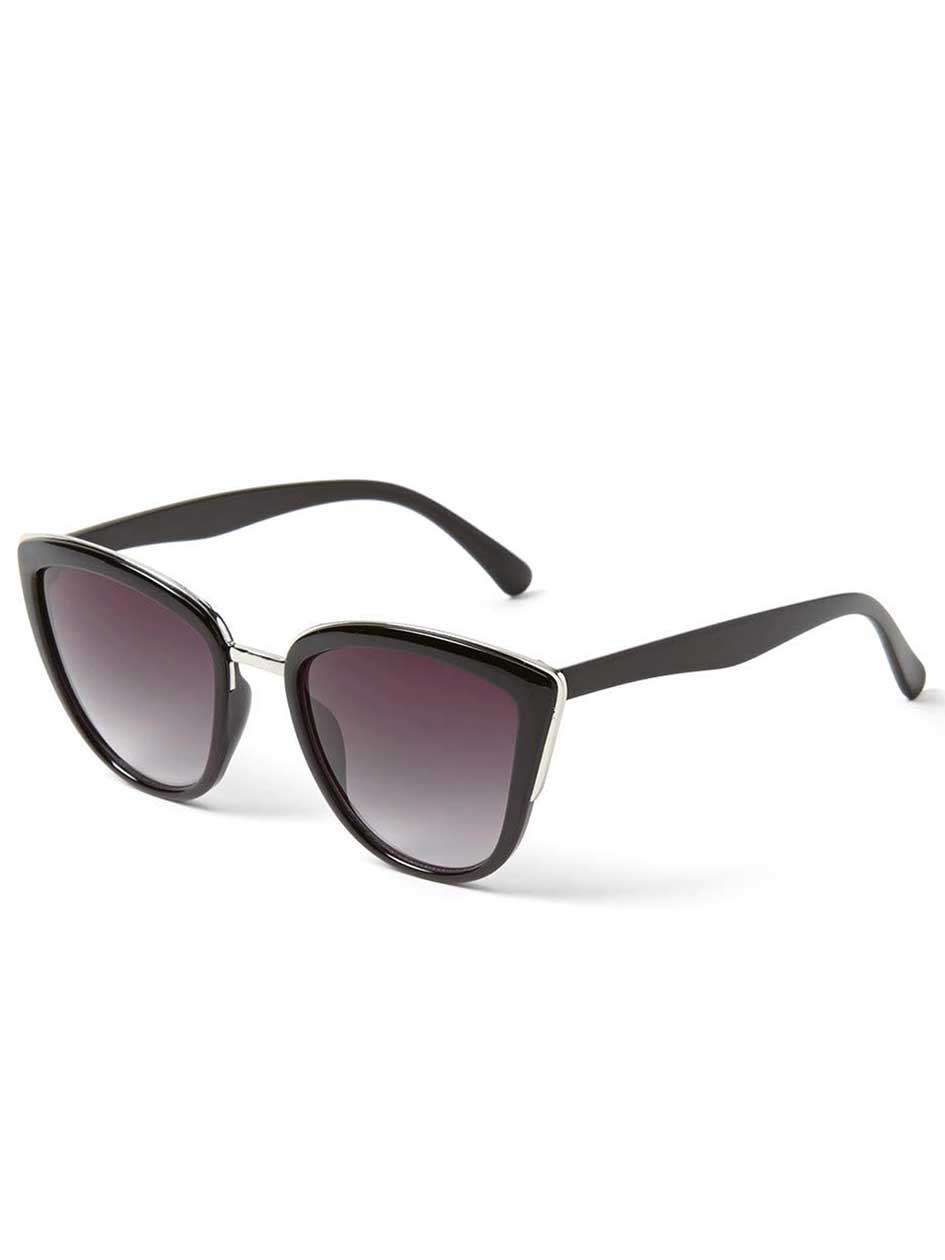 Cat Eye Sunglasses with Metal Inserts