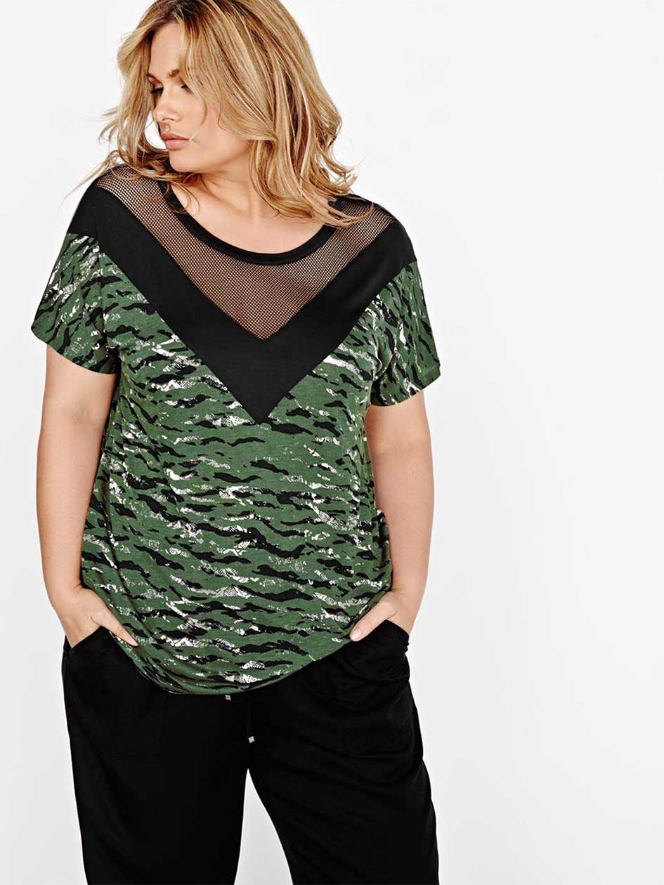 L&L Printed Top with Mesh Insert