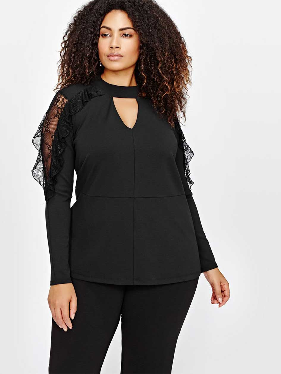 Michel Studio Choker V-Neck Top with Frills & Lace