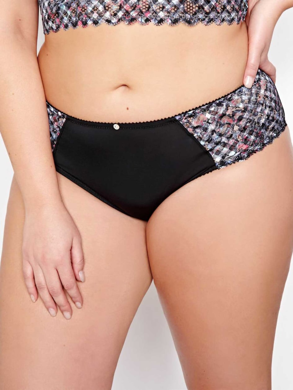 Floral plaid High Cut Panty with Side Lace - Déesse Collection.Flower Vichy.X