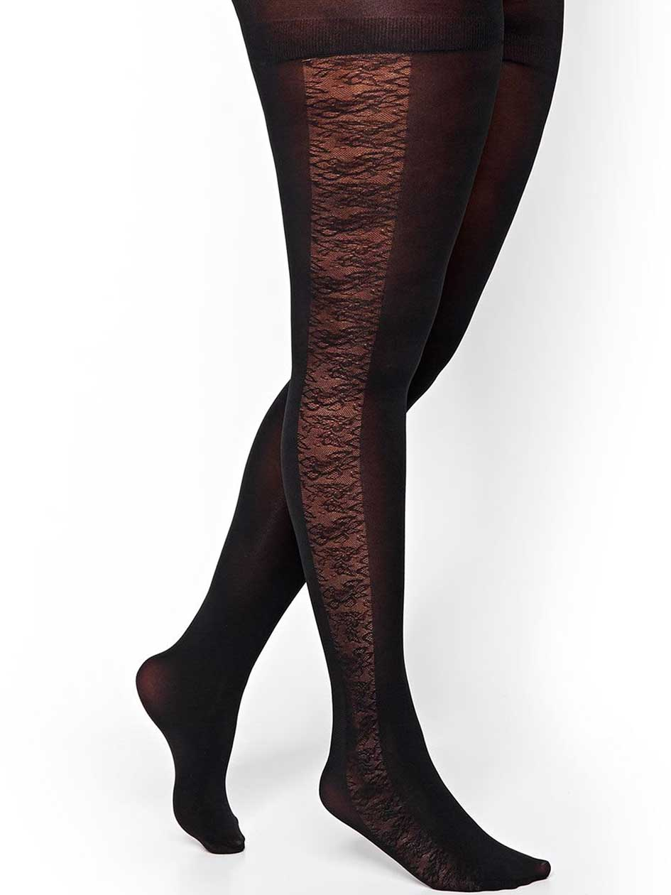 Solid Tights with Floral Cutout