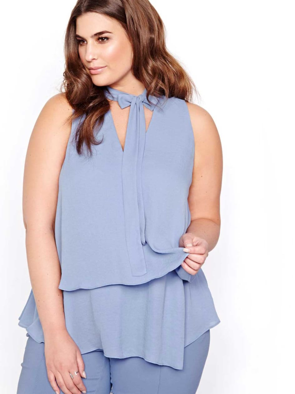 Michel Studio Two-Layer Blouse with Self-tie Necklace.Country Blue.26