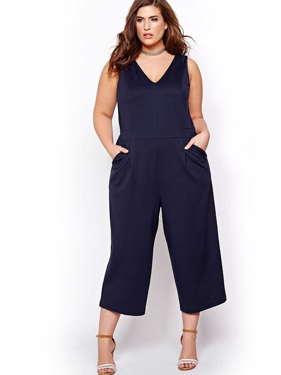 Michel Studio Wide Leg Cropped Jumpsuit