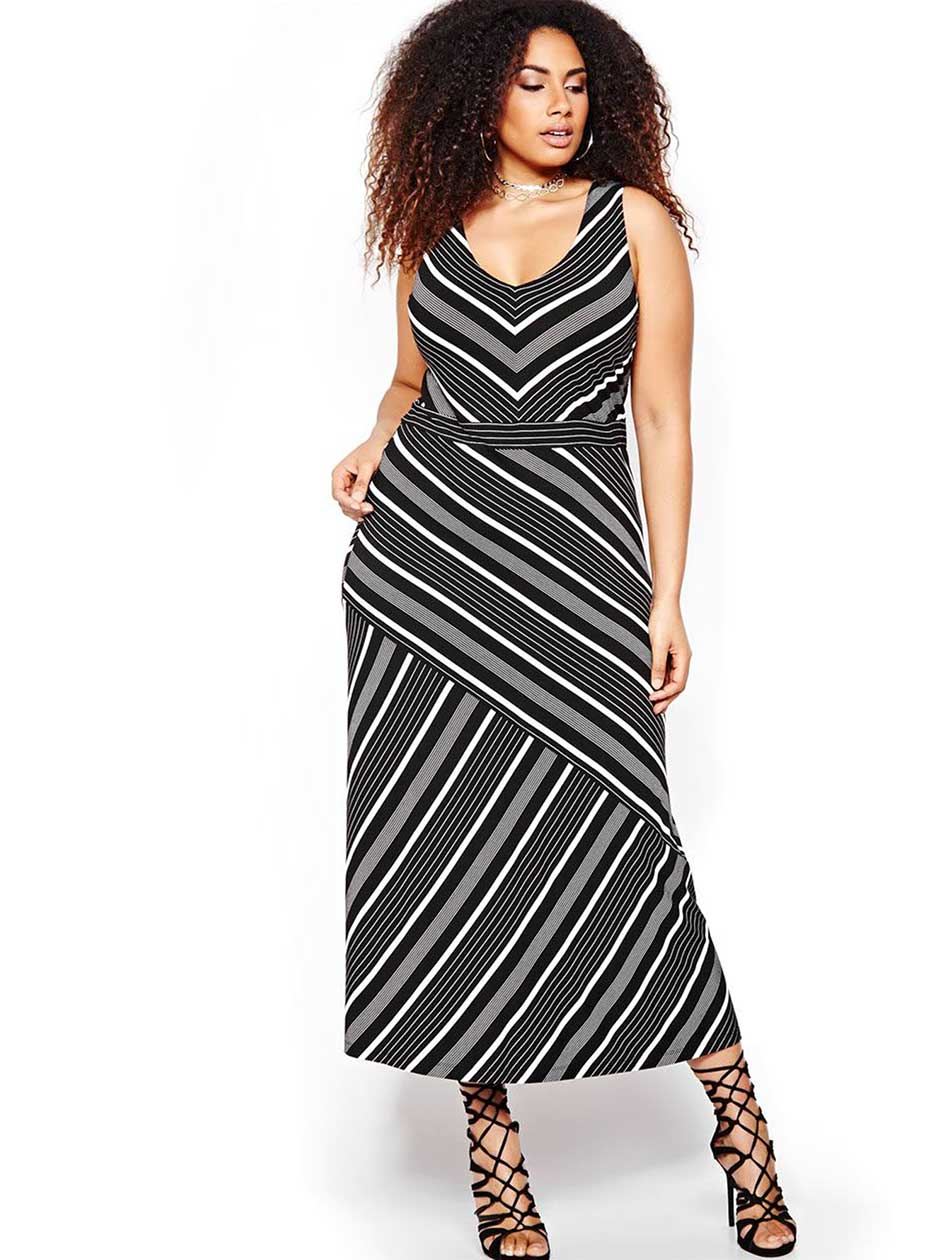 Michel Studio Maxi Dress with Asymmetrical Stripes