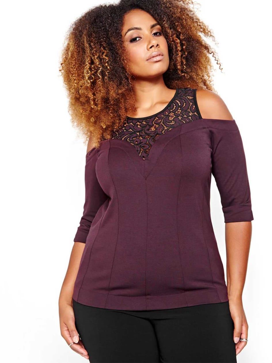 Michel Studio Three Quarter Sleeve Top with Lace