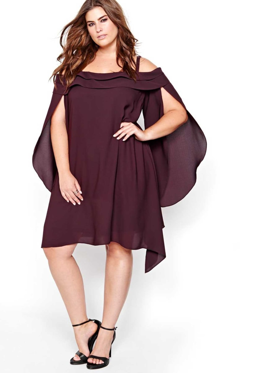 Michel Studio Off Shoulder Cape Dress