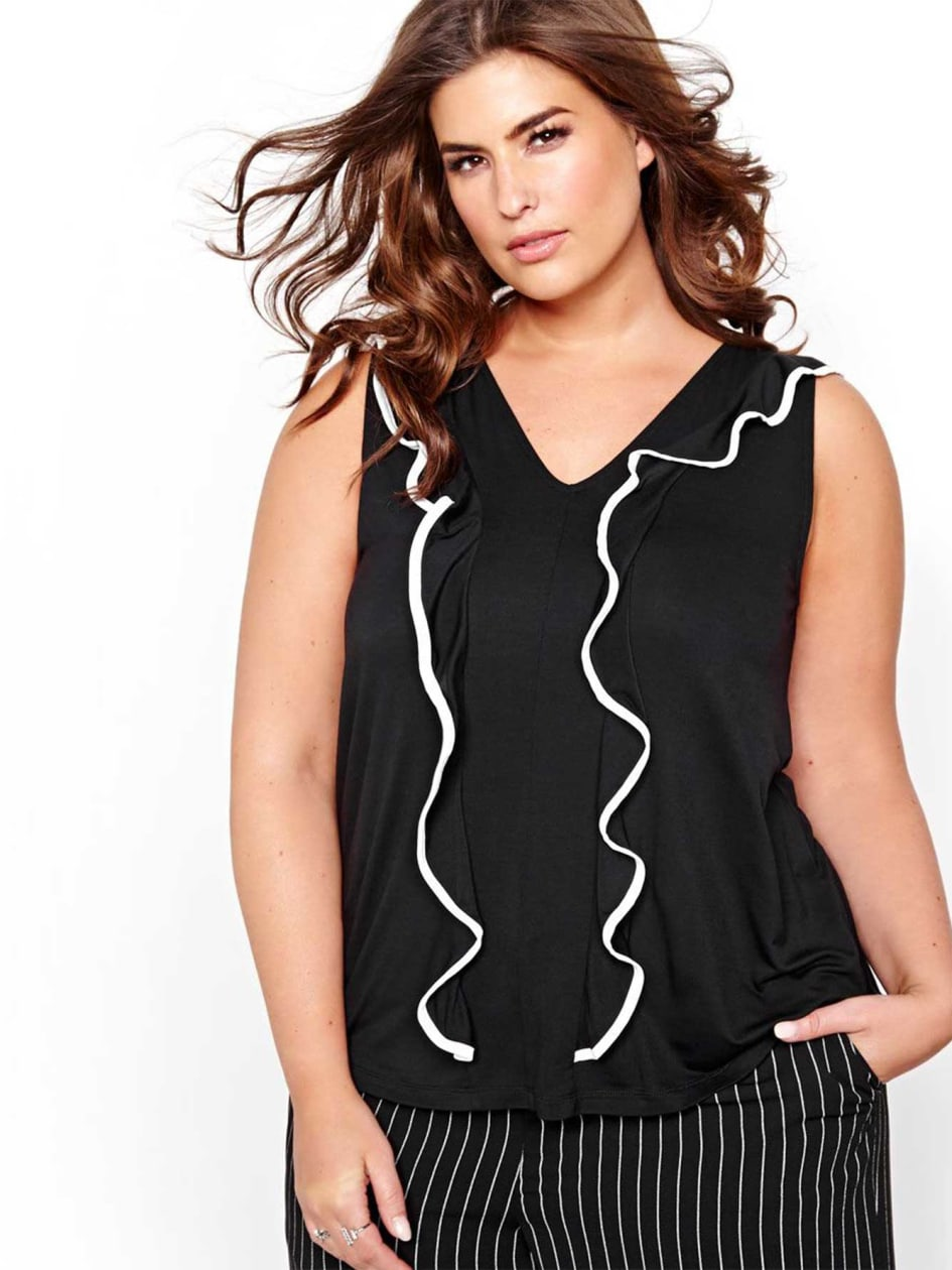 Michel Studio Blouse with Ruffles and V-neck