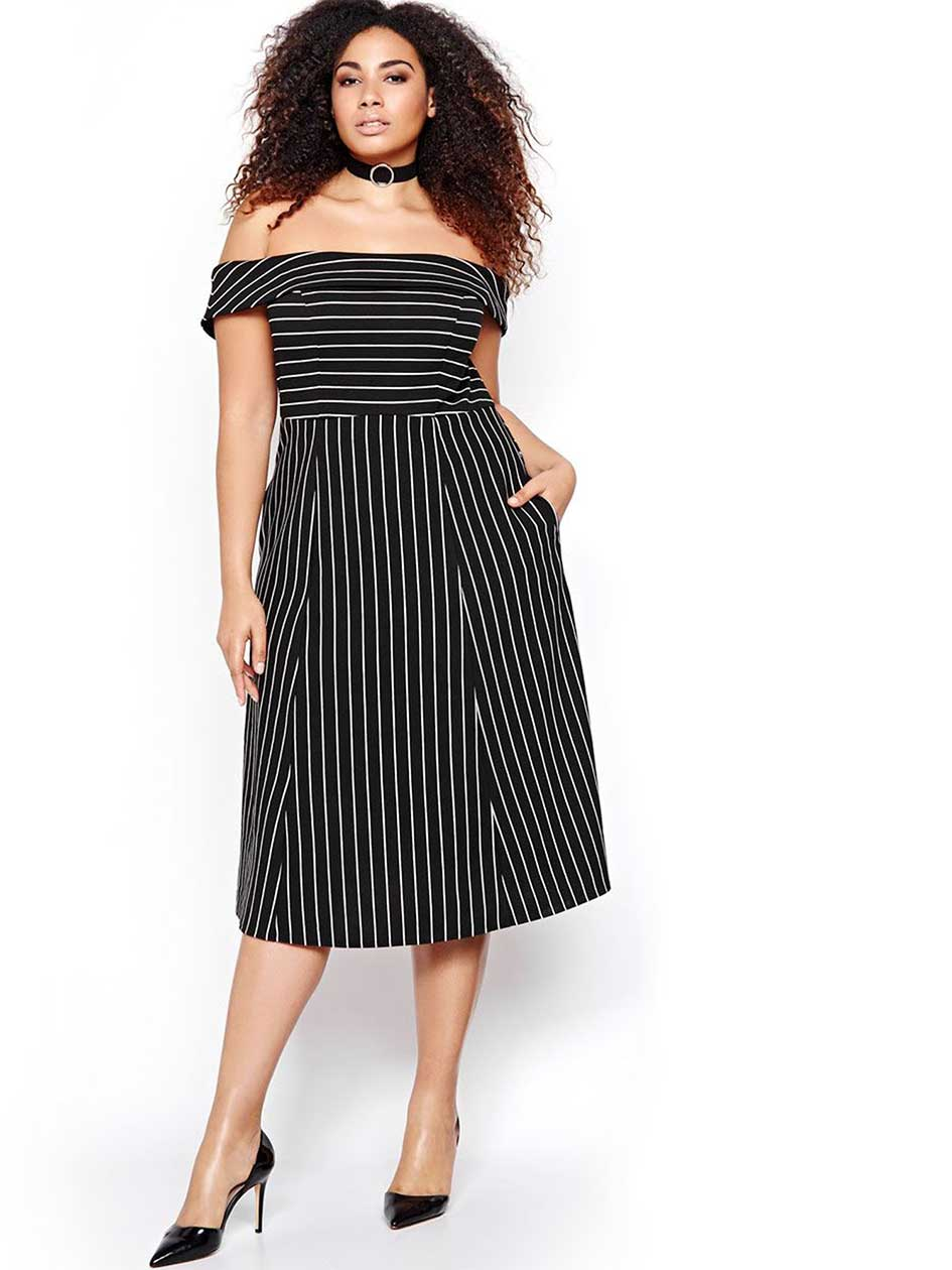 ABS Striped Off-Shoulder Midi Dress