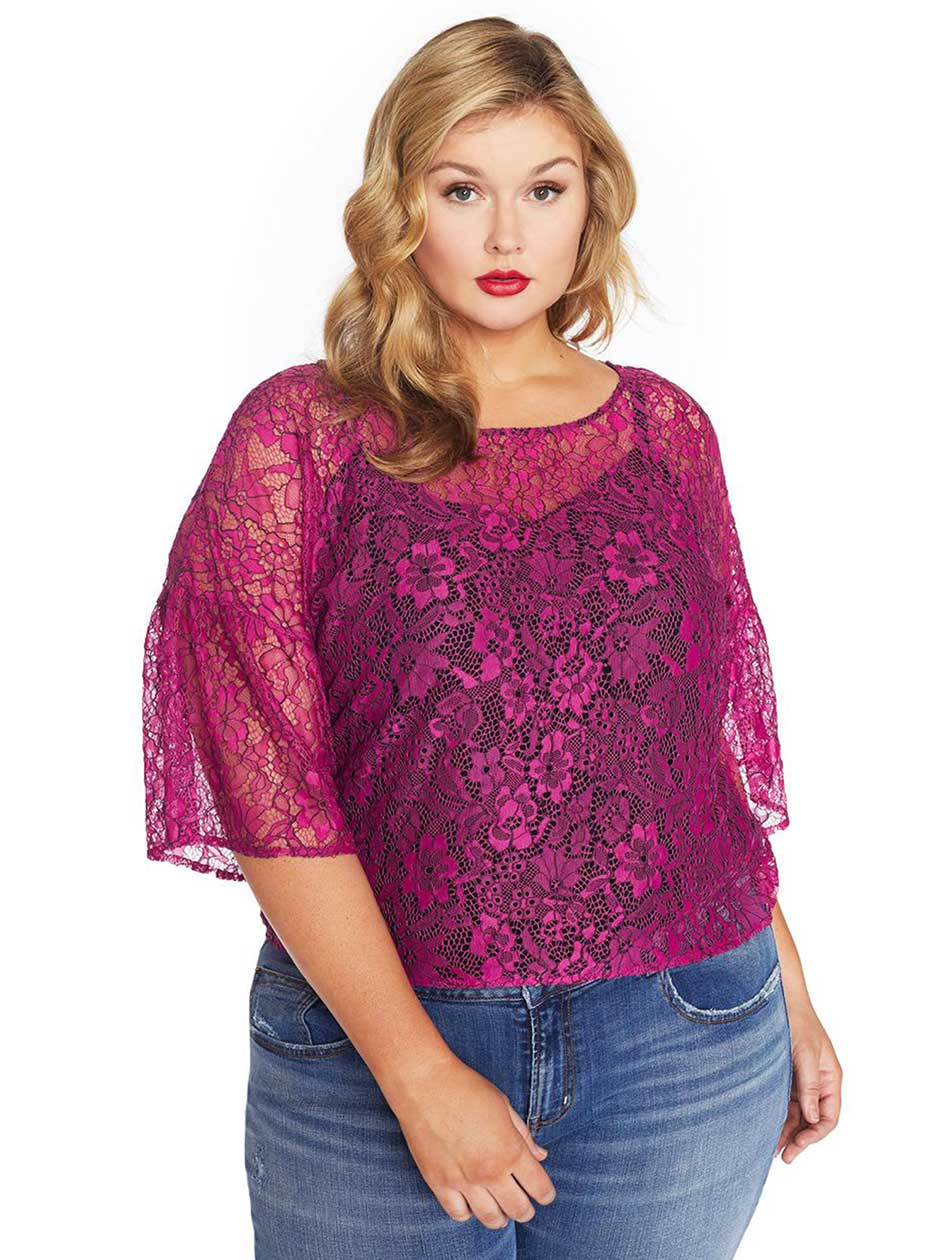 Rebel Wilson Lace Top with Lantern Sleeve