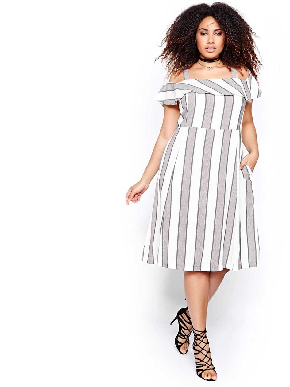 Michel Studio Striped Bardot Dress