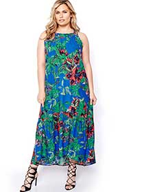 Rachel Roy Printed High-Low Maxi Dress