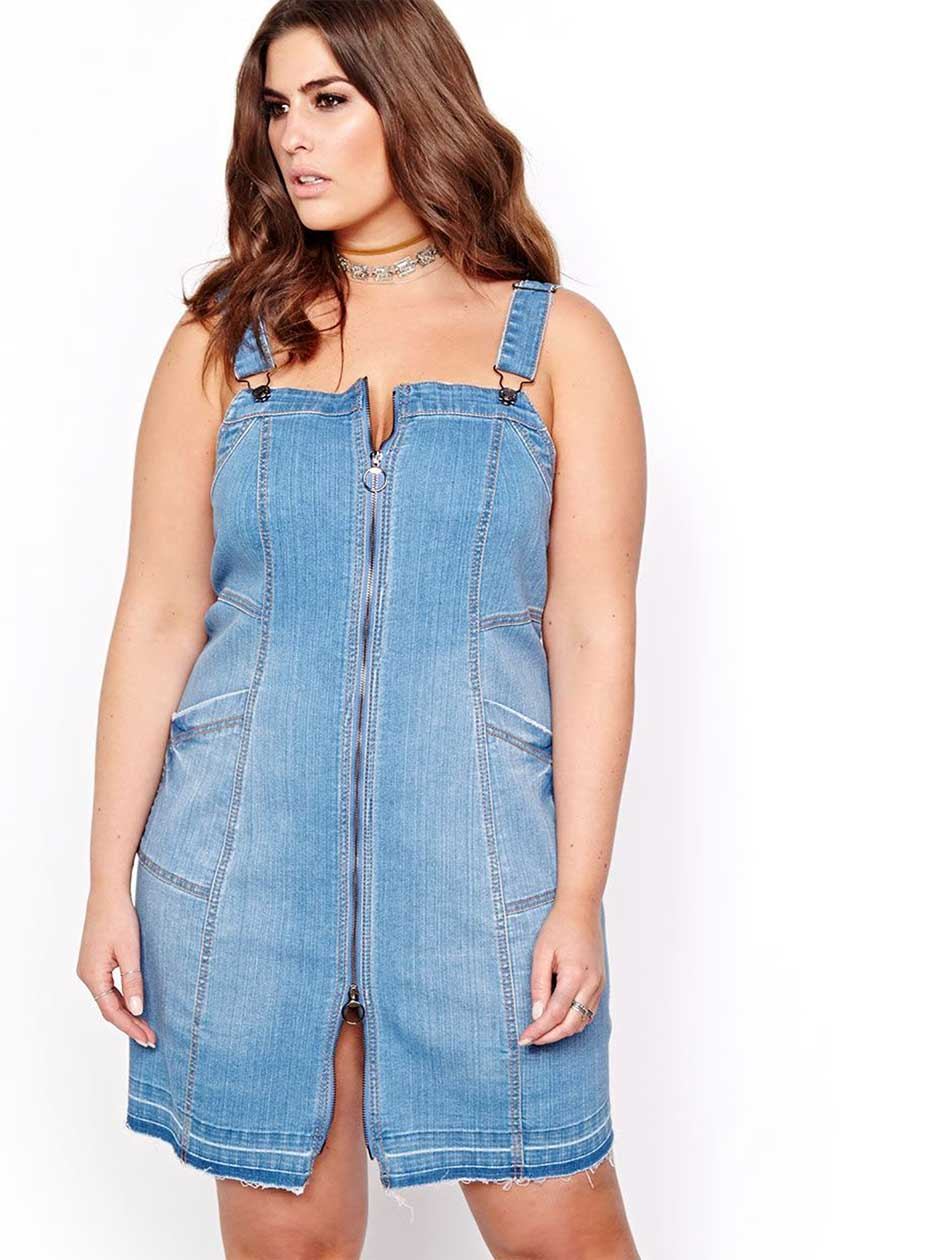 Robe chasuble en denim L&L