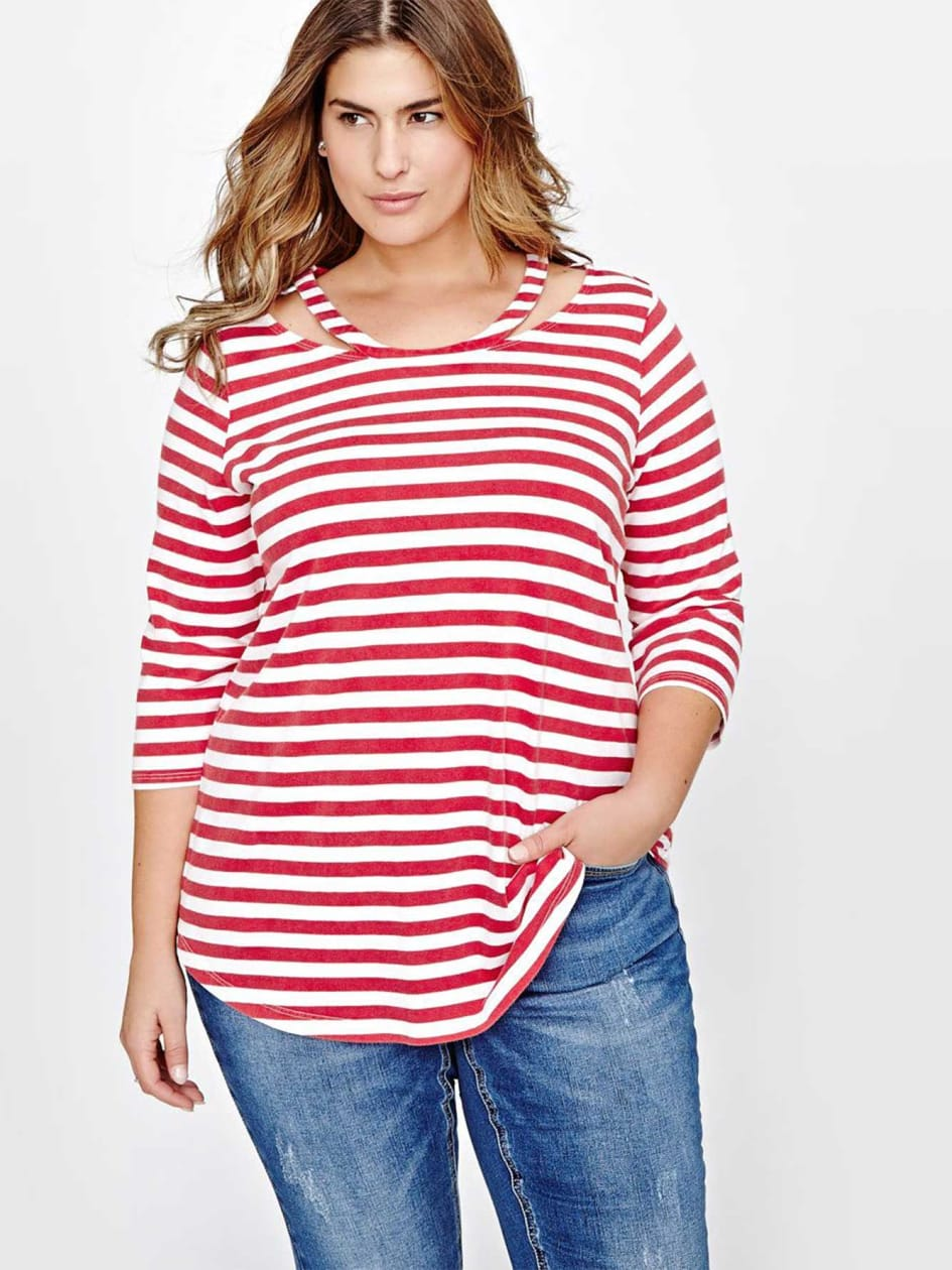 L&L Striped Three Quarter Sleeve Top