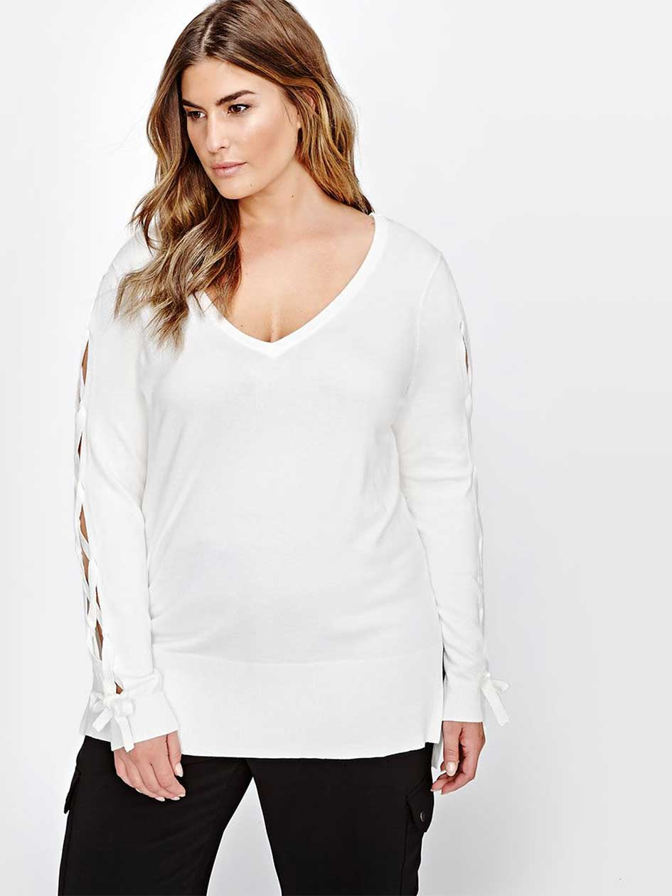 Michel Studio Lace-Up Sleeve Hi-Low Sweater