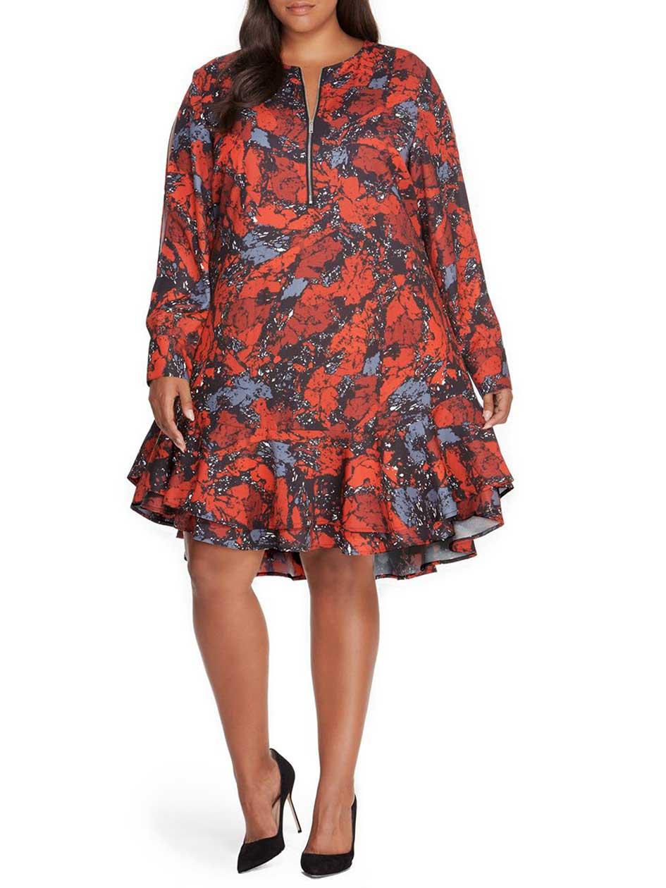 Rebel Wilson Print Drop Waist Split Shoulder Dress with Self Belt