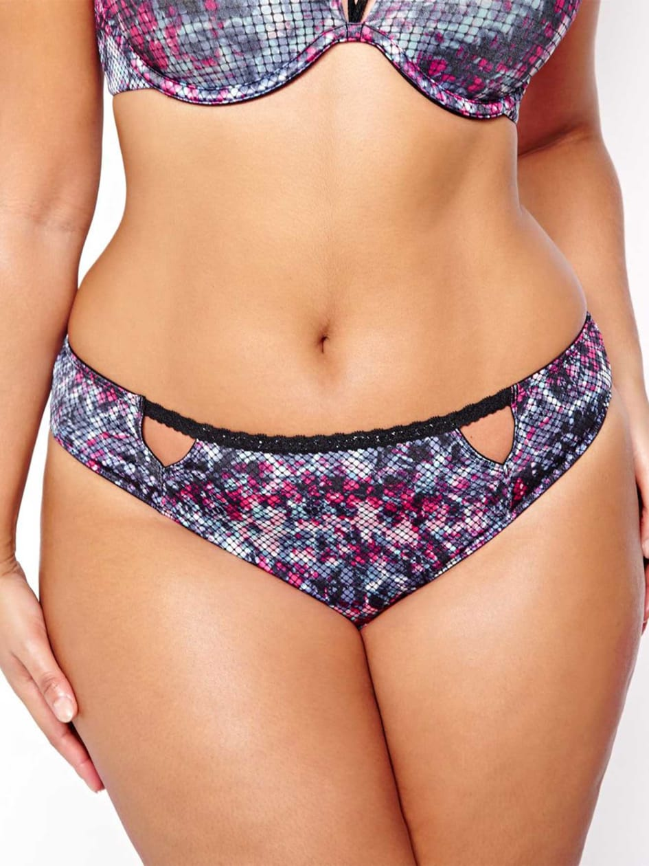 Thong with cutouts and flowery print - Déesse Collection