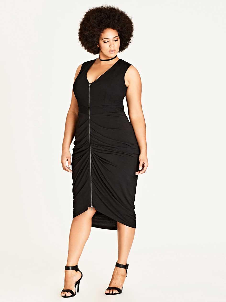 City Chic Drape Black Bodycon Dress