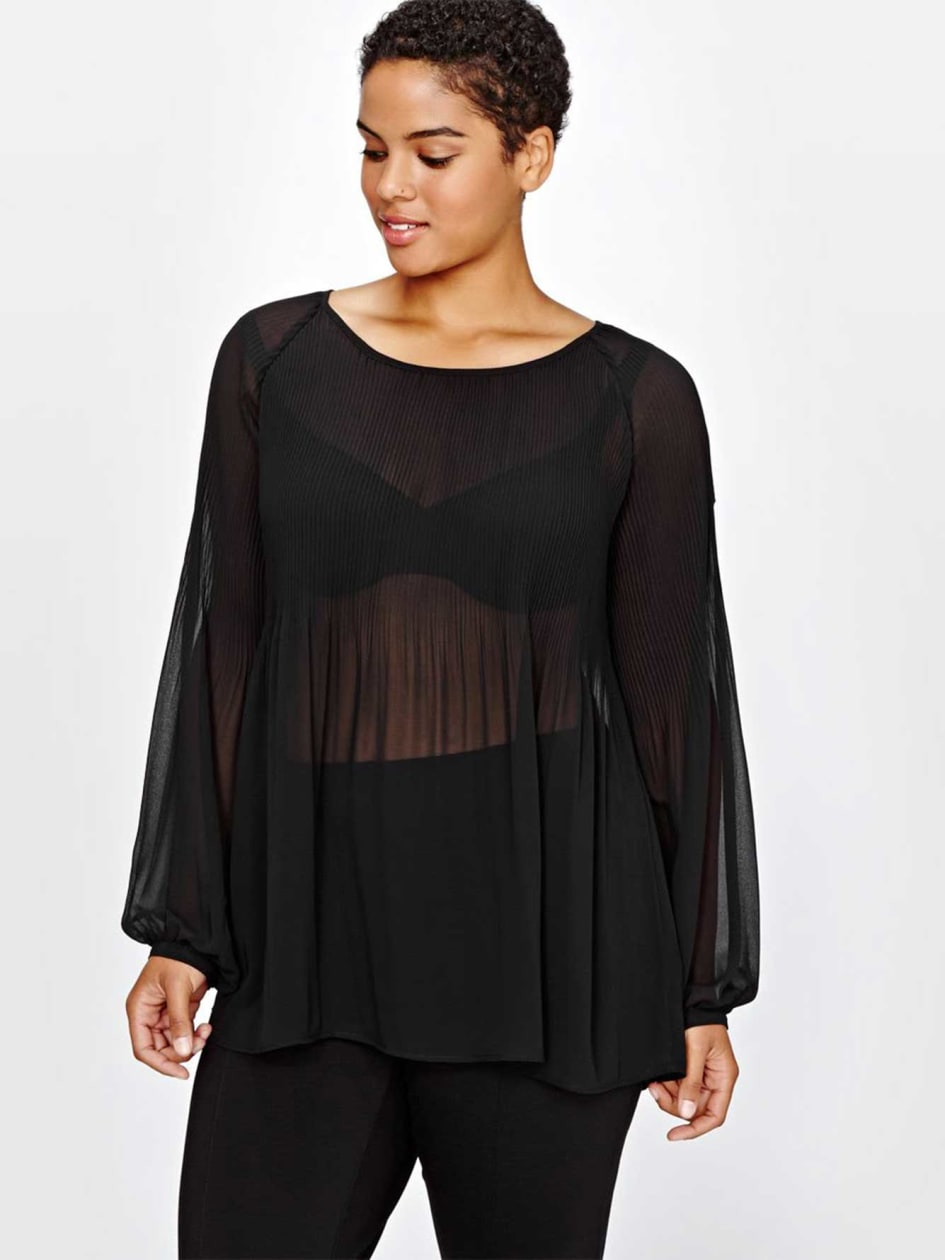 Michel Studio See-Through Pleated Blouse
