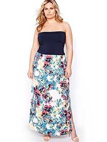 Rachel Roy Strapless Maxi Dress with Print