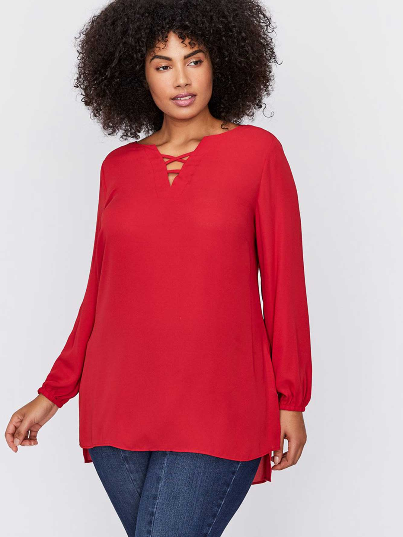 ac8e2279788 Puffy Sleeve Tunic Blouse with Lacing Details - Michel Studio ...