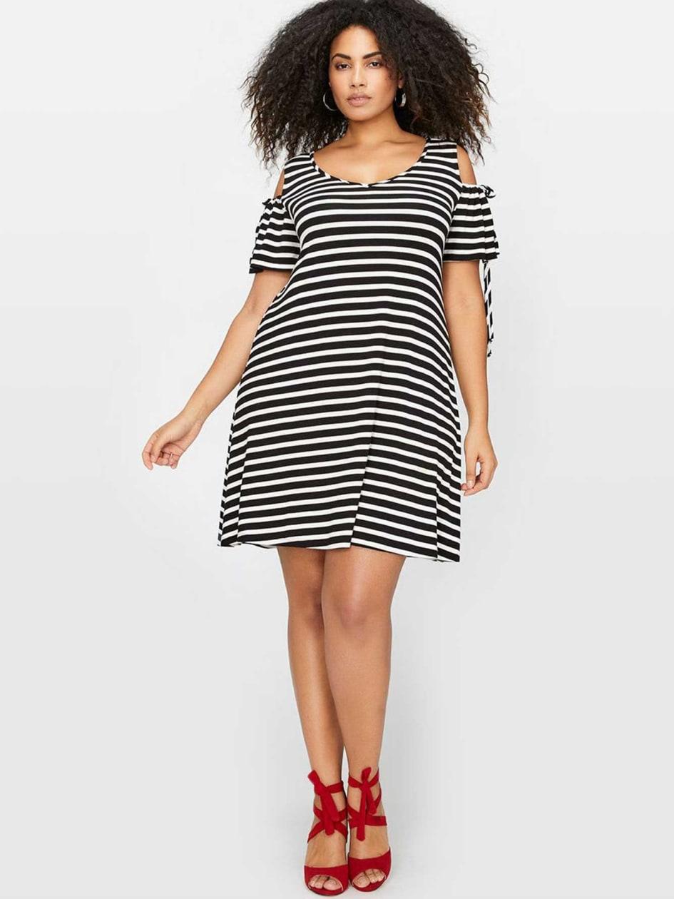 Michel Studio Cold Shoulder Stripe Dress