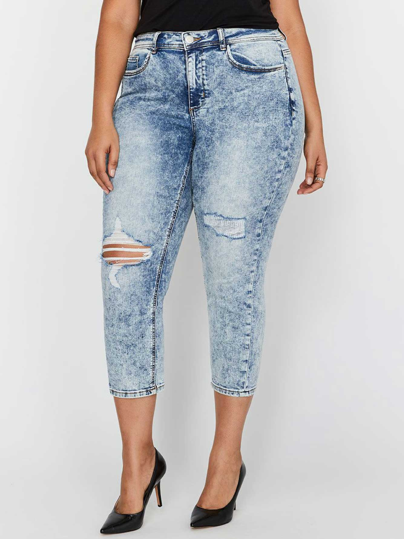 L&L Authentic Cropped Skinny Jeans with Rips & Acid Wash